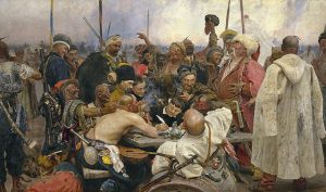 Reply of the Zaporozhian Cossacks to Sultan Mehmed IV of the Ottoman Empire by Ilya Repin