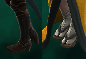 Heels of the NG armour and Japanese footwear
